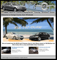 Orange County Auto Wholesale's Website